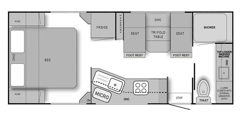 21' Rear Door Angle Kitchen (Toilet Doorside)